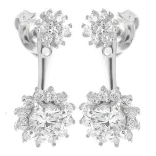 Silverworks E6996 Flower Design Ear Jacket Earring