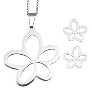 Flower Pendant Necklace and Earrings (X3215)