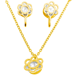 Flower Pendant Necklace and Earrings (X3220)