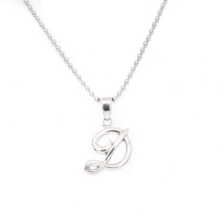 Silverworks X1762 Letter D Pendant with Balls Chain