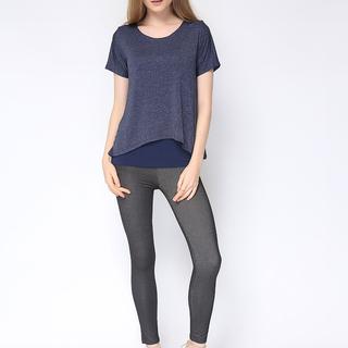 Uropa Navy Blue Layered Silk Shirt (AUV001020)