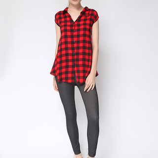 Uropa Red/Black Checkered Blouse (AUV002013)