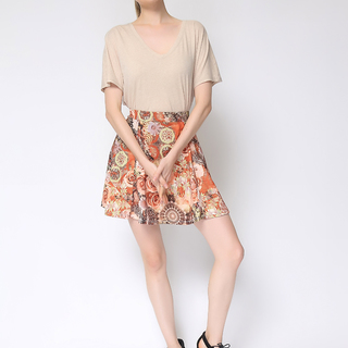 Uropa Brown Flare Floral Skirt (AUV002020)