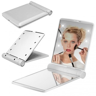 Pocket Makeup Mirror With LED Light - White
