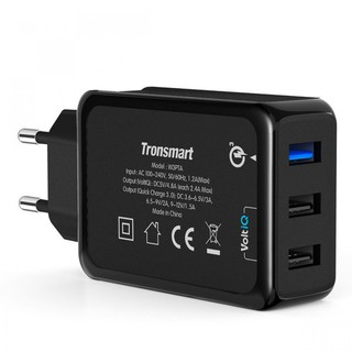 Tronsmart W3PTA 42W Three Port 1 USB Quick Charge 3.0 And 2 USB 2.4A Charger - Black -