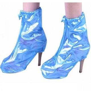 Plastic Zip Up Hi Heels Shoe Cover For Women - Blue