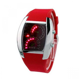 Casual Water Resistant LED Metal Speedometer Watch - Red