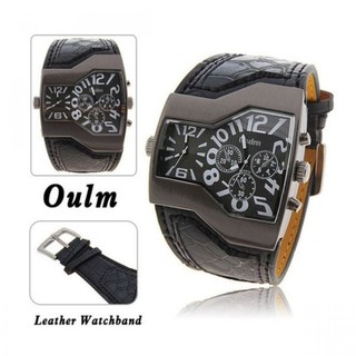 Oulm Military Men's Watch with Dual Movt Dial Leather - Black