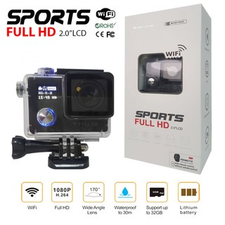 """12mp Double Screen 2"""" LED Screen Sports Full HD with Watch Remote Shutter - Black"""