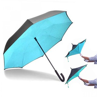 Double Layers Inverted Upside Down umbrella - Blue