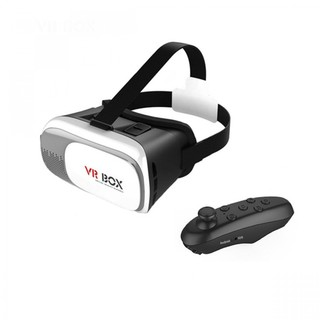VR Virtual Reality 3D Glasses For Smartphone With Black Remote - White