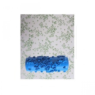 15cm Patterned Paint Roller Flower Leaves - Blue