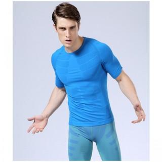 Crew Neck Warm Herren Dry Fit Sport Shirt L - Blue