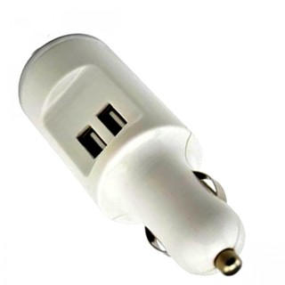 Dual Port 2.0 A USB Car Charger With Lighter - White