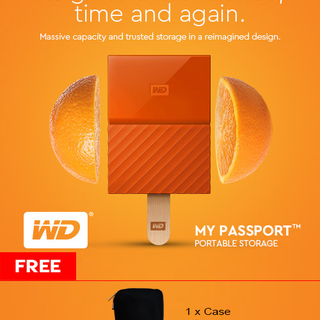 WD My Passport 2TB USB 3.0 Portable External Hard Drive (Orange)