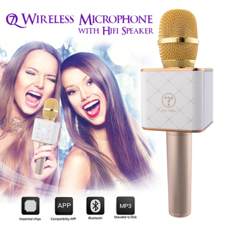 Bluetooth Microphone With HIFI Speaker For Smartphones And Media Box - Gold