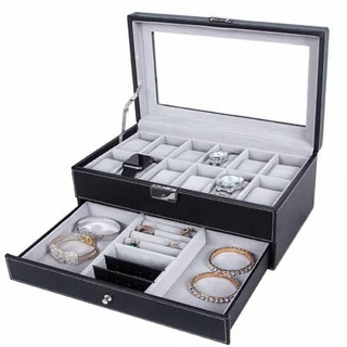 12 Slots 2 Layer Watch and Jewelry Organizer With Lock - Black