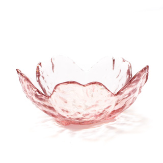 GLASS APPETIZER FLOWER DISH PINK SMALL 4X8.5CM (57094)