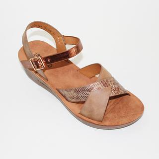 JESSA Low heeled Sandals with Snake Skin Strap Design
