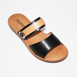 SHAINE Double Strap Flat Sandals with Round Button Design
