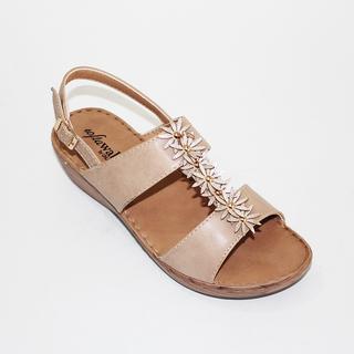 JULIE Wedge Sandals with Flower Design