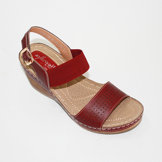 SOPHIA Wedge Sandals With Garter Strap and Lazercut Design