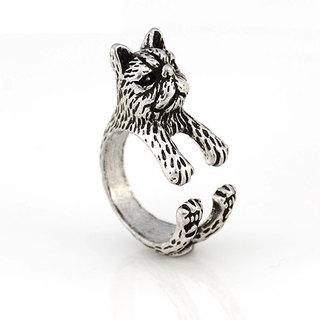 SILVER GRUMPY CAT RING
