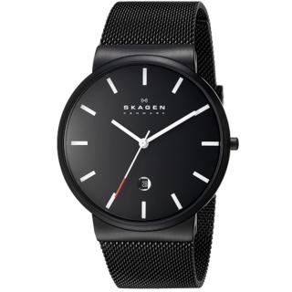 Skagen Men's SKW6053 Klassik Black Dial Black PVD Mesh Watch