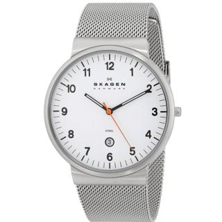 Skagen Men's SKW6025 White Dial Stainless Steel Mesh Watch