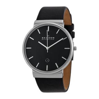 Skagen Men's SKW6104 Ancher Black Dial Black Leather Men's Watch