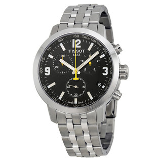 Tissot Men's PRC 200 Chronograph Black Dial Stainless Steel Watch T0554171105700