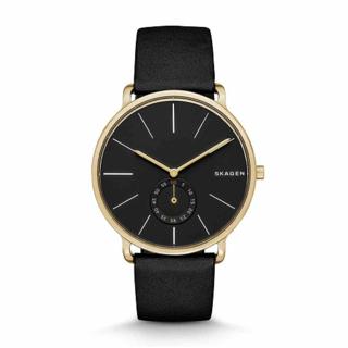 Skagen Men's SKW6217 Hagen Black Dial Leather Watch