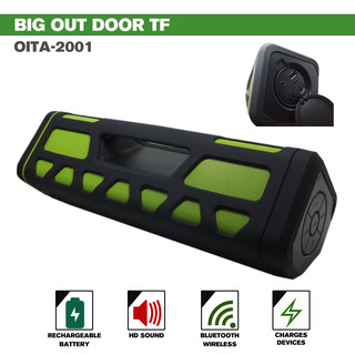 Outdoor Bluetooth Speaker With 2000 MAH Powerbank- Green