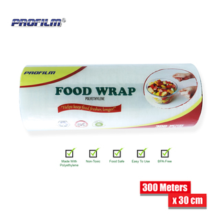Food Wrap Polyethylene Stretch Film 300 Meters x 30 cm - Transparent