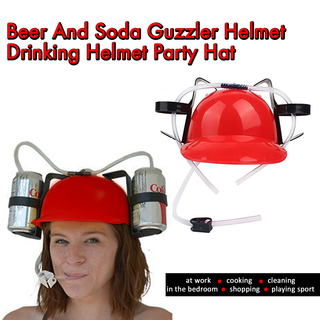 Beer And Soda Guzzler Helmet Drinking Helmet Party Hat - Red