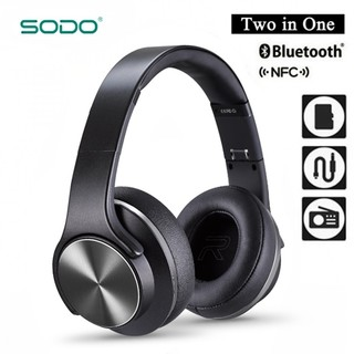 Sodo MH3 Bluetooth 2 IN 1 Headphone with Flip-out Speaker - Black