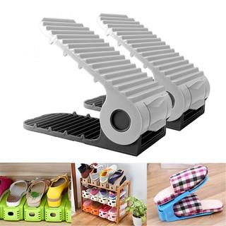 Adjustable Double Deck Shoe Rack Organizer 2PCS - Black