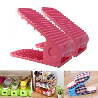 Adjustable Double Deck Shoe Rack Organizer 2PCS - Pink