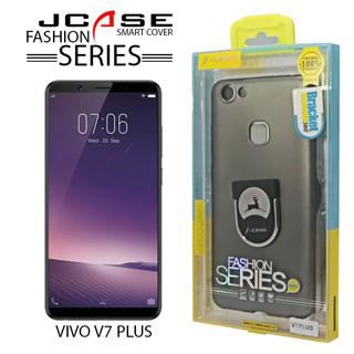 J-case 360 Vivo V7 PLus Fashion Series Smart Cover with Ring Holder - Gray