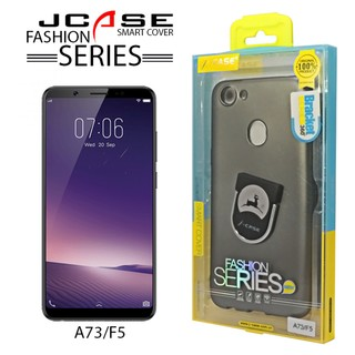 J-case 360 Oppo A73F5 Fashion Series Smart Cover with Ring Holder - Gray