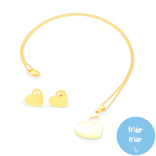 X3917 Gold Plain Heart with Cutout Heart Set