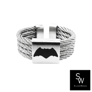 Silverworks X3766 Adjustable Batman Twisted Rope Ring