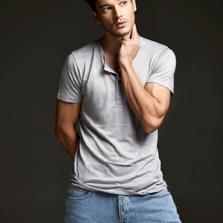 Men's Gray V-Neck
