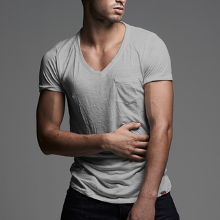 Men's Gray Vintage V-Neck