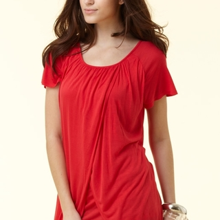 Mamaway Draped Double Layer Maternity & Nursing Top 1114R (Red)