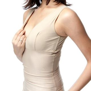Mamaway Recovery Nursing Shaper with Built-in Crossover Nursing Bra 6822F (Beige)