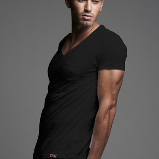 Men's Black Vintage V-Neck