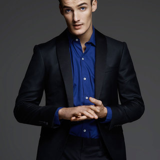 Men's Dark Blue Spread Collar