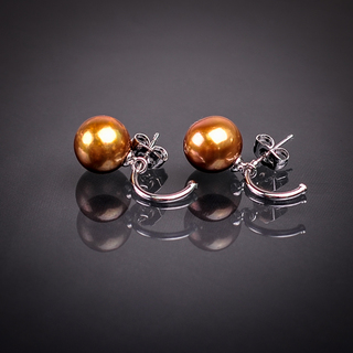 Classic Pearl Dangling Earrings (White & Gold)