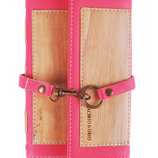 J&L ARTISAN DUAL COVER PASSPORT/ JOURNAL SLEEVE- MINI (PINK)